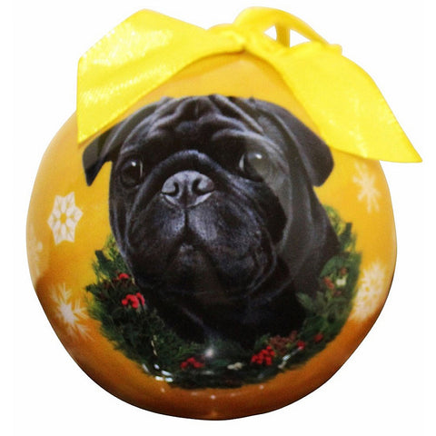 Black Pug Dog Snowflake Christmas Ball Ornament Shatter Proof Ball Easy - 3""