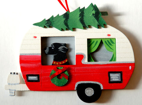 Retro Camper Trailer Dog Wood 3-D Hand Painted Ornament - Black Labrador Retriever