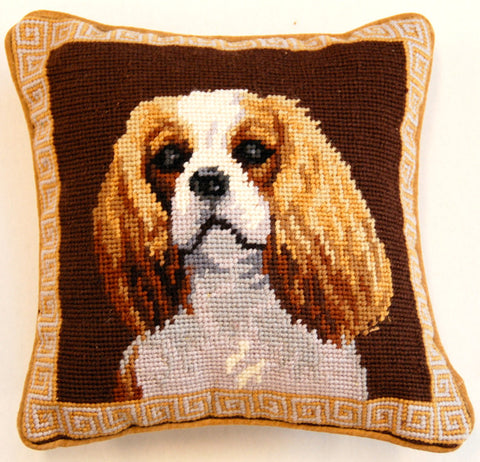 "Blenheim Cavalier King Charles Spaniel Dog - 10"" Needlepoint Dog Pillow"