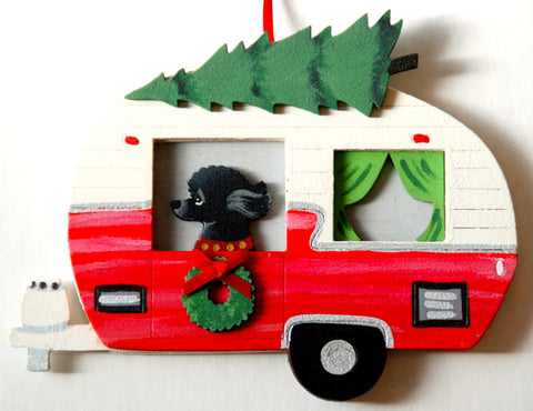 Retro Camper Trailer Dog Wood 3-D Hand Painted Ornament - Black Poodle