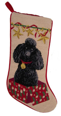 "Black French Poodle Dog Christmas Needlepoint Stocking - 11"" x 18"""