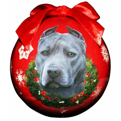 Blue Pit Bull Dog Snowflake Christmas Ornament Shatter Proof Ball - 3""