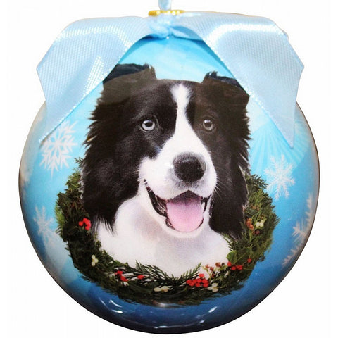 Border Collie Dog Snowflake Christmas Ornament Shatter Proof Ball 3""