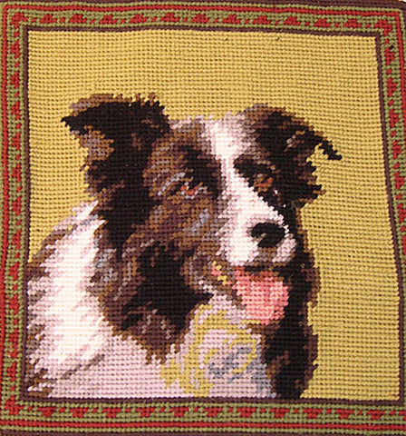 "Border Collie Dog Portrait - 10"" Needlepoint Dog Pillow"