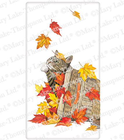 "Mary Lake Thompson Autumn Leaves Cat Basket 100% Cotton Flour Sack Dish Tea Towel 30"" x 30"""
