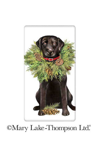 "Christmas Wreath Black Labrador Retriever Dog 100% Cotton Flour Sack Dish Tea Towel - Mary Lake Thompson 30"" x 30"""