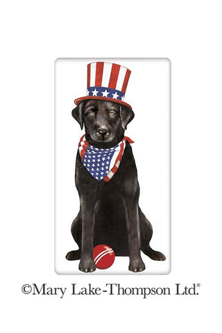 Patriotic Black Labrador Retriever Dog 100% Cotton Flour Sack Dish Towel Tea Towel