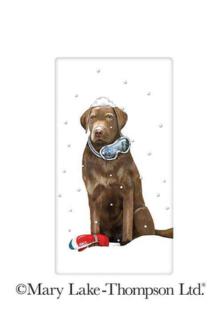 Winter Chocolate Labrador Retriever Dog 100% Cotton Flour Sack Dish Towel Tea Towel