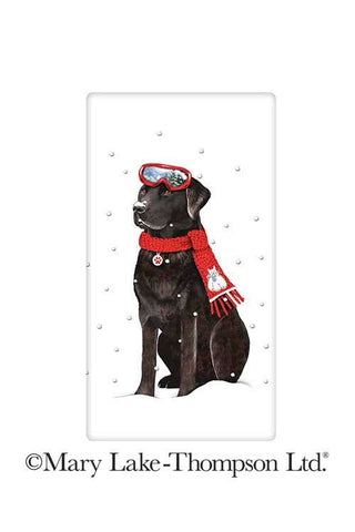 Winter Black Labrador Retriever 100% Cotton Flour Sack Dish Towel Tea Towel