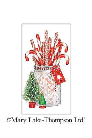 Glistening Candy Canes Jar Christmas 100% Cotton Flour Sack Dish Towel Tea Towel