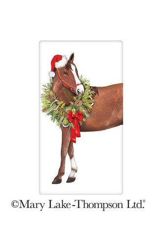 Holiday Horse with Wreath 100% Cotton Flour Sack Dish Towel Tea Towel