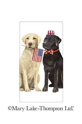 Patriotic Labrador Retriever Dogs 100% Cotton Flour Sack Dish Towel Tea Towel