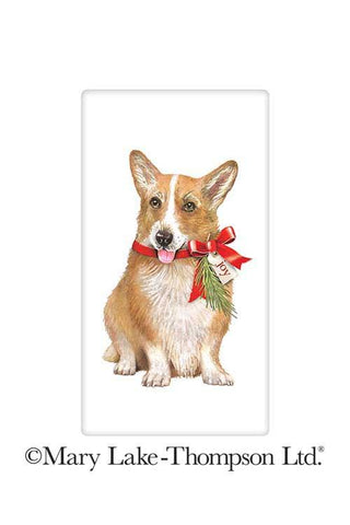 Christmas Corgi Dog 100% Cotton Flour Sack Dish Towel Tea Towel