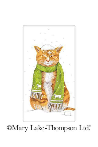 Snowy Winter Orange Tabby Cat 100% Cotton Flour Sack Dish Towel Tea Towel