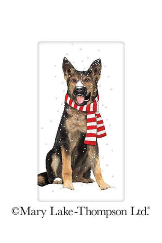 Winter German Shepherd Dog 100% Cotton Flour Sack Dish Towel Tea Towel