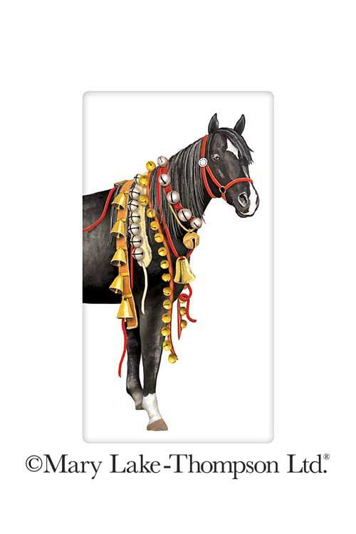Christmas Horse Tack.Christmas Black Horse Sleigh Bells 100 Cotton Flour Sack Dish Towel Tea Towel