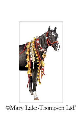 Christmas Black Horse Sleigh Bells 100% Cotton Flour Sack Dish Towel Tea Towel