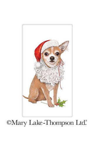 "Chihuahua Christmas Santa Dog 100% Cotton Flour Sack Dish Tea Towel - Mary Lake Thompson 30"" x 30"""