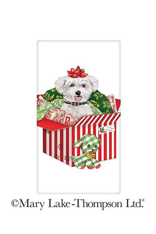 "Bichon Frise Christmas Gift Dog 100% Cotton Flour Sack Dish Tea Towel - Mary Lake Thompson 30"" x 30"""