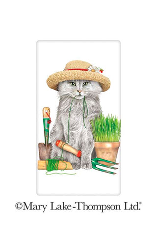 Mary Lake Thompson Flour Sack Towel - Garden Cat in Hat
