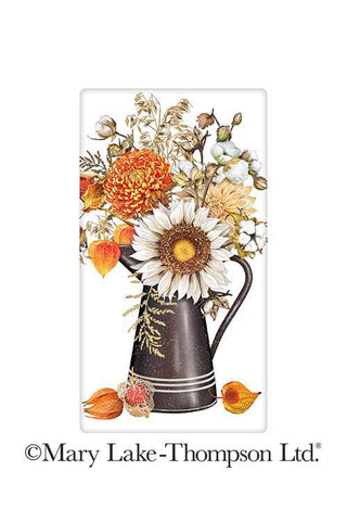 "Colorful Autumn Floral Vase Sunflower 100% Cotton Flour Sack Dish Tea Towel - Mary Lake Thompson 30"" x 30"""
