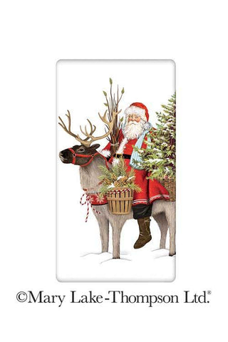 Wilderness Reindeer Christmas Santa 100% Cotton Flour Sack Dish Towel Tea Towel