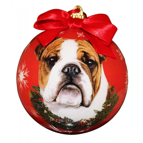 Bulldog Dog Snowflake Christmas Ornament Shatter Proof Ball - 3""