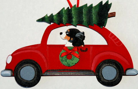 Hippie 60's Car Dog Wood 3-D Hand Painted Ornament -  Bernese Mountain Dog