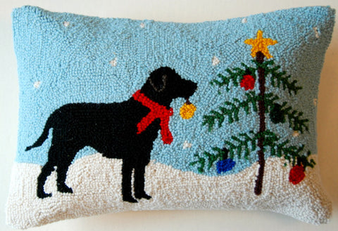 "Alpine Rustic Tree Black Labrador Retriever Dog Hooked Wool Throw Pillow 14"" x 18"" ~ An Exclusive Design"