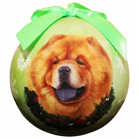 Chow Chow Dog Snowflake Christmas Ornament Shatter Proof Ball - 3""