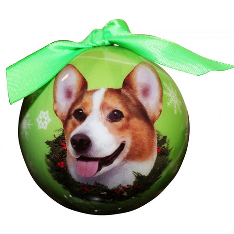 Welsh Corgi Dog Snowflake Christmas Ornament Shatter Proof Ball - 3""