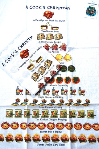 """Twelve Days of a Cook's Christmas"" Flour Sack Cotton Kitchen Dish Towel Tea Towel - 18"" x 26"""