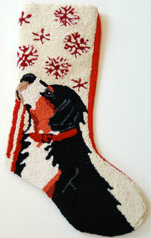 "Bernese Mountain Dog Snowflake Leash Hooked Wool Large Christmas Stocking - 13"" x 21"""