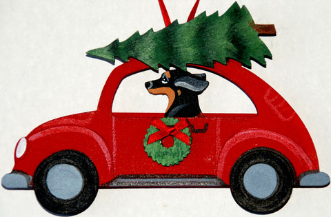 Hippie 60's Car Dog Wood 3-D Hand Painted Ornament -  Black Tan Dachshund