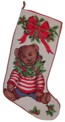 "Toy Teddy Bear Christmas Needlepoint Stocking - 11"" x 18"""