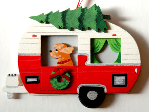 Retro Camper Trailer Dog Wood 3-D Hand Painted Ornament - Goldendoodle