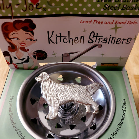 Pewter Golden Retriever Stainless Steel Sink Strainer