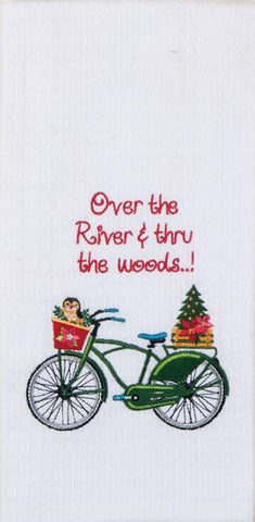 "Over The River Christmas Quote Bike Embroidered 100% Cotton Waffle Dish Towel / Tea Towel, 18"" x 28"""