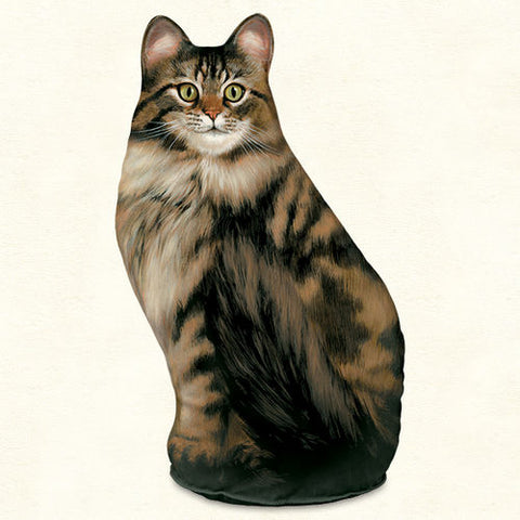 Long Hair Tabby Cat Screened Cotton Weighted Door Stop