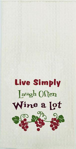 "Live Simply Wine Quote Embroidered 100% Cotton Waffle Dish Towel / Tea Towel, 18"" x 28"""