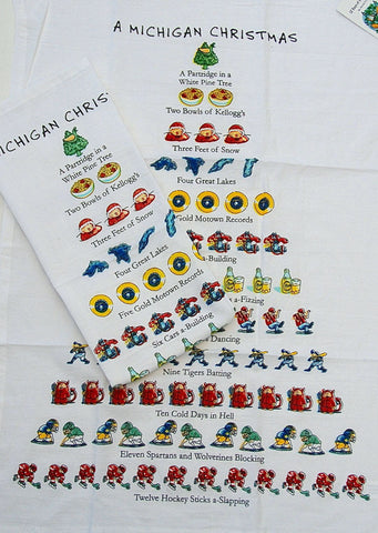 """Twelve Days of a Michigan Christmas"" Flour Sack Cotton Kitchen Dish Towel Tea Towel - 18"" x 26"""