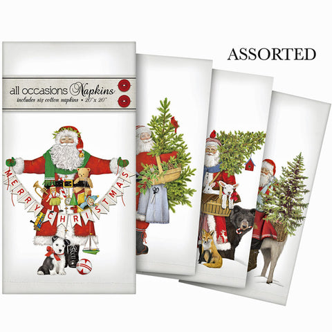 "Classic Holiday Santa Assortment - Set of 4 Cotton Christmas Napkins - 20"" x 20"""