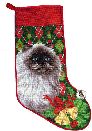 "Himalayan Argyle Christmas Needlepoint Stocking - 11"" x 18"""