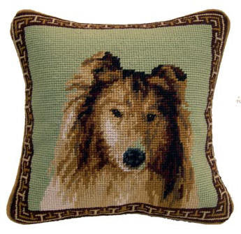 "Charming Shetland Sheepdog Sheltie Dog Portrait - 10"" Needlepoint Dog Pillow"