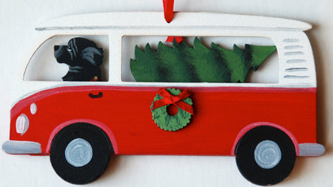 Hippie Van Bus Dog Wood 3-D Hand Painted Ornament - Newfoundland