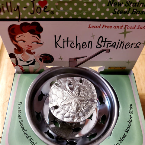 Pewter Nautical Sand Dollar Stainless Steel Sink Strainer