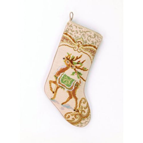 "Gold Leaping Reindeer Christmas Needlepoint Stocking - 11"" x 18"""