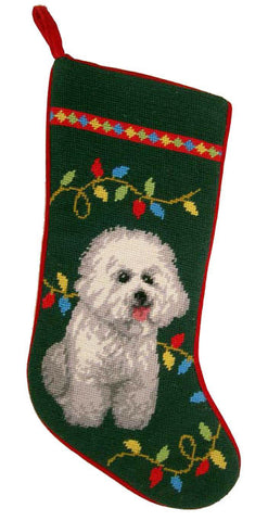 "Holiday Bichon Frise Dog Christmas Needlepoint Stocking - 11"" x 18"""