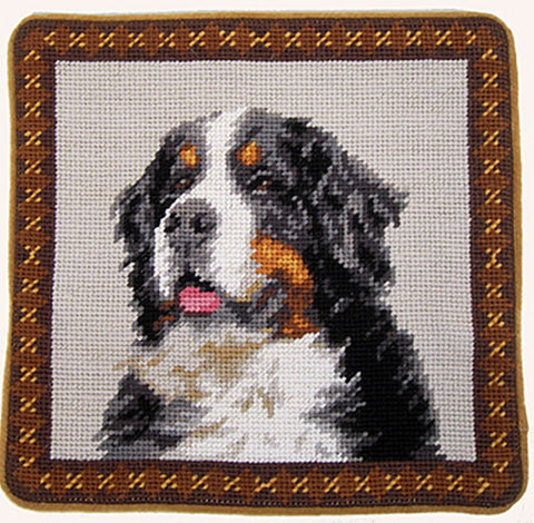 "Bernese Mountain Dog Portrait - 10"" Needlepoint Dog Pillow"