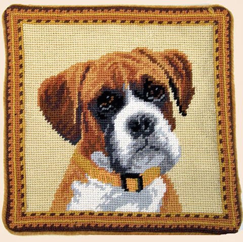 "Flop Ear Boxer Dog Portrait - 10"" Needlepoint Dog Pillow"